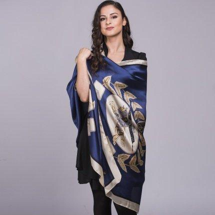 navy silk scarf