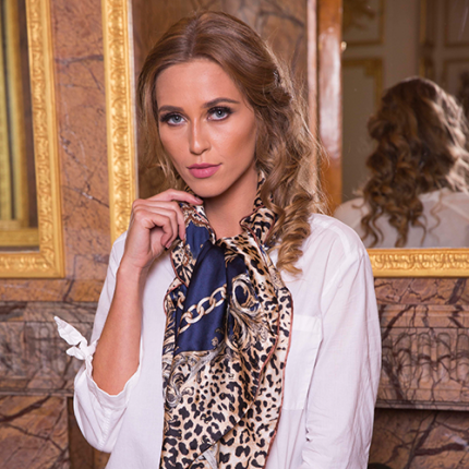 Luxurious Leopard-Print Silk Scarf
